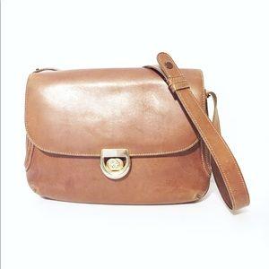 Vintage brown leather horsebit Gucci shoulder bag